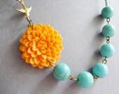 Bohemian Necklace,Orange Flower Necklace,Orange Necklace,Turquoise Necklace,Bridesmaid Necklace,Statement Necklace,Orange Floral Necklace