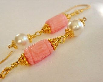 White Pearl Earrings, Pink Coral Earrings, Gold Filled Earrings Gold Earrings, Dangle Earrings, Handmade Artisan Jewelry