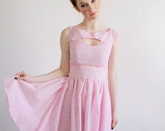 """Gingham Cut Out Dress""""Andromeda"""" shown in Pink with Gathered Short Skirt and Sweetheart Neckline"""