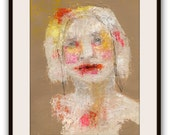 """Original Painting - Textured Portrait Painting, Painting on Paper, -""""Self Identification"""""""