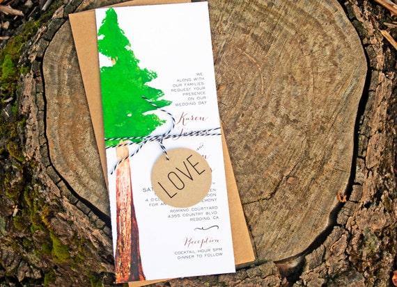 redwood tree wedding invitation woodland outdoor by mavora With redwood tree wedding invitations
