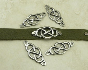 4 TierraCast Celtic Infinity Link Bars > Leather Rivet Chain Mail Irish - Antique Pewter Finish Lead Free I ship Internationally 3178