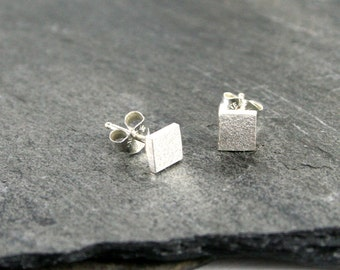 Sand Textured Sterling Silver Square Post Stud Earrings - Modern Simple Jewelry under 25