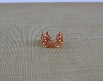 Red Copper Ornate Ear Cuff- Princess Crown