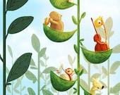 "Music Animals Birthday, Music, Lion Art, Cute Art, Kids Artwork, greeting card - ""Jazz Tree"""