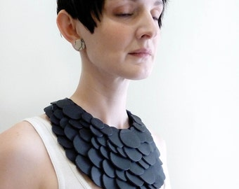 Black Scales Bib Necklace Choker Collar
