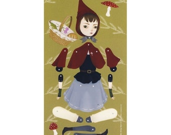 Little Red Riding Hood - Articulated paper doll print - oversized