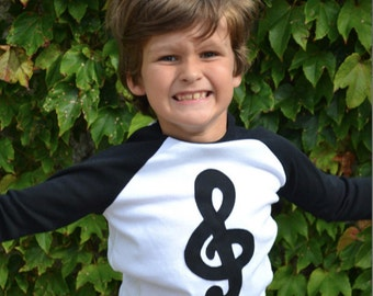 Black Treble Clef Baseball Raglan for Piano Violin Flute Cello Guitar Lessons Students Notes Books Children Sizes