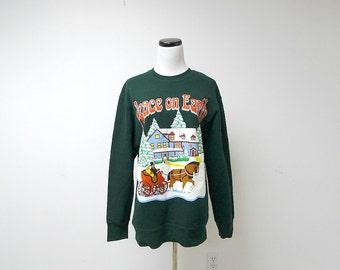 PEACE on EARTH  . vintage green UGLY sweatshirt . medium