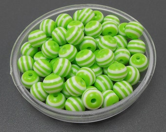 50 Lime Green & White Stripe Acrylic Beads resin stripes 8mm (H1535)