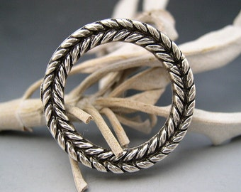 Braided Wreath Ring Pendant Mykonos Greek Pewter Silver Patina Link Circle Naos
