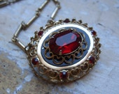 FREE SHIPPING Vintage Coro Red Rhinestone Pendant and Chain Necklace