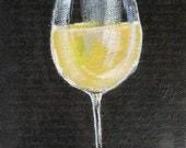 White Wine Glass - Original Painting - 5 x 7 Acrylic Painting on Canvas - Wine Art