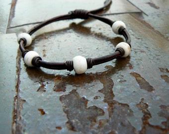 Chuma African Trade Bead Leather Bracelet | Tribal Beaded Bracelet | Black or Brown Leather Cord | Men's Women's Bohemian Hippie Jewelry