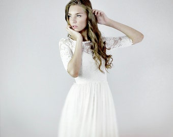 Heloise--2 Piece, Lace and Silk Wedding Dress--SALE