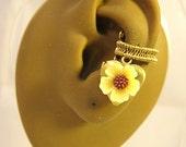 Locket Earrings - Yellow Locket Jewelry - Memories Earrings - Flower Ear Cuff - Yellow Ear Cuff - Floral Cuff Earring - Heart Ear Cuff