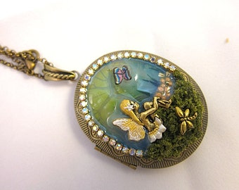 Lovely Pure Sitting Fairy In The Forest Locket Necklace Fantasy Realm Pendant Nature Flowers