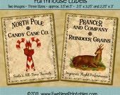 Instant Download - Printable Farmhouse Labels - Reindeer Candy Cane - Digital PDF or JPG File