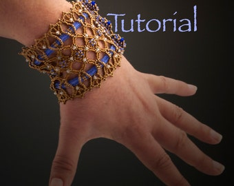 Seed Bead Bracelet Forget Me Not Lace Cuff Tutorial Instant Digital Download