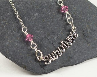Cancer Survivor jewelry - Survivor Necklace - Sterling Silver with crystals - can do ANY color crystal