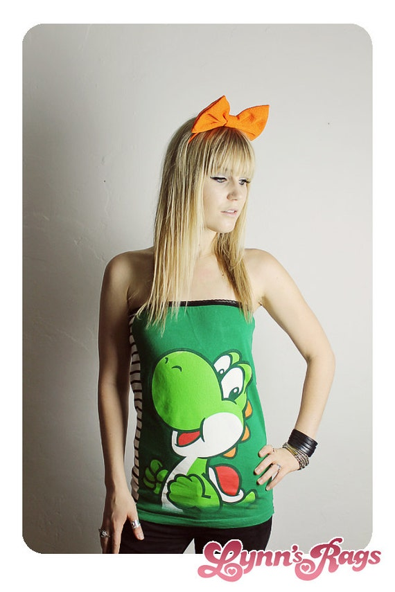 yoshi super mario bros tube top handmade shirt diy. Black Bedroom Furniture Sets. Home Design Ideas