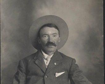 vintage photo Salt of the EArth Western Man Cowboy Hat RPPC