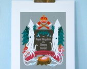 Print: The Royal Kingdom of the Sleepy Forest - Art Squid Mushroom emblem Nature Wood Illustration