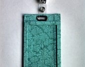 Aqua Moroccan Leaf Vertical Badge Holder