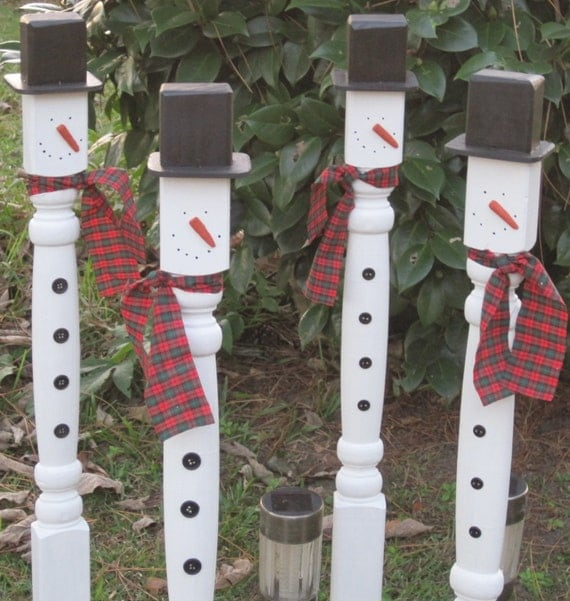 Outdoor Wooden Christmas Yard Decorations: 4 Christmas Wood Snowman Outdoor Decoration Stake Wooden