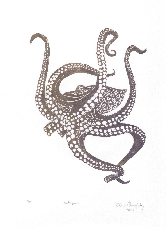 Octopus Linocut Lino Block Print Ocean Animal Art