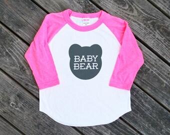 Baby Bear Kids Neon Heather Pink Raglan Sleeve Baseball TShirt with Grey Print