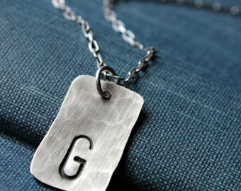 Hand Hammered Sterling Silver Personalized Initial Necklace - RECHTECK