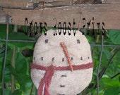 SNOWman  ornament Crows Roost Prims 161e  Crows Roost Prims Primitive Round epattern SALE immediate download