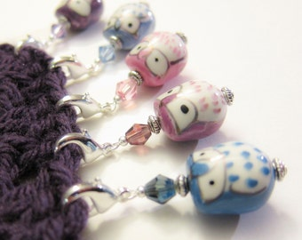 5 Stitch Markers - Berry Cute Owls
