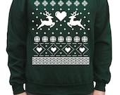 Ugly Christmas Sweater Reindeers in Love Pullover Sweatshirt