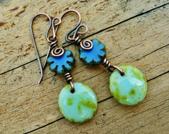 Czech Picasso Glass dangles wire wrapped in antiqued copper earrings