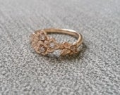 Diamond and Gold Flower Engagement Ring Delicate Floral Wedding Bridal Band Dogwood Cherry blossom Rose 14 K Gold Cluster Anniversary Branch