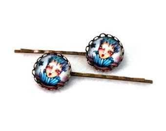 Hairclips Bobby Pins, Hair Clips Bobbypins, Storybook Girl Art, Gift for Woman Teen Friend, Stocking Stuffer Present, Bronze, For Her, Blue