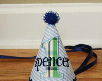 Boy First Birthday Hat - Blue and green - Seersucker and plaid - Free personalization