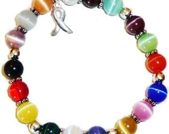 Stretchy 18 Colors Packaged Cancer Awareness Bracelet- 8mm