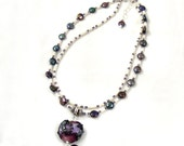 Freshwater Pearl Necklace, Purple Heart Necklace, Purple Necklace, Lampwork Heart Pendant, Double Strand Necklace