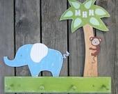 Kids Coat Rack JUNGLE Peg Rack - Hand Painted Wood