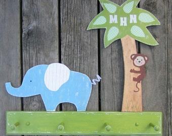 JUNGLE Clothing Peg Rack - Hand Painted Wood