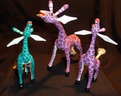 Giraffe Family by Zeny, Reyna and Fatima Fuentes Oaxacan Woodcarving (Dad, Mom and Daughter carvers)