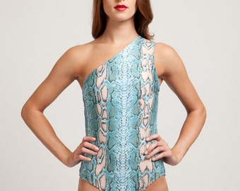 Turquoise Ayahuasca Snake One Piece Assymetrical Bathing Suit