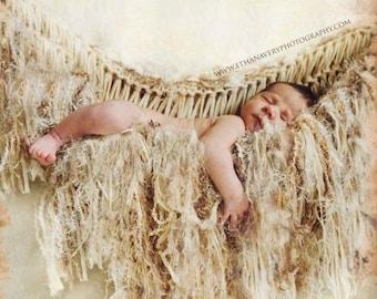 Suspend Baby Prop Beige Hammock Fringe Prop Newborn Baby Blanket Prop. Ivory 'Granola'