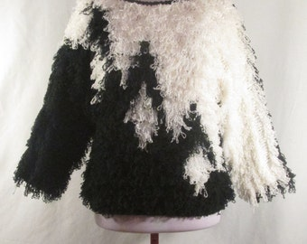 Vintage 90s Black White Faux Fur Mongolian Lamb Style Shaggy Knit Sweater Small