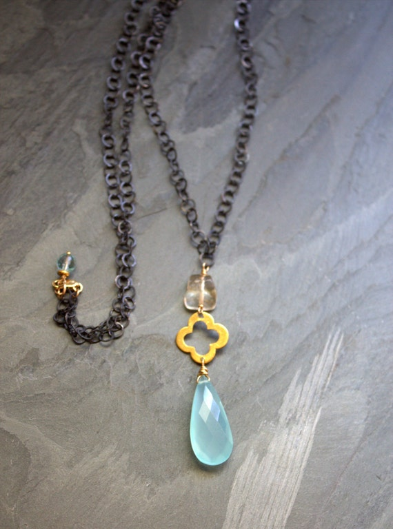 Aqua Blue Chalcedony Long Pendant Necklace, Oxidized Silver Chain, Gold Necklace Quatrefoil Clover, Artisan Handmade Unique Jewelry, ViaLove