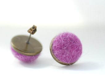 Magenta Stud Earrings, Felted Wool Earrings, Jewel Tonel Jewelry, Dark Fuchsia, Fibre Jewelry, Post Earrings, Brass Studs