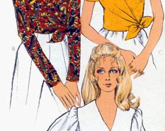 1960s Front Wrap Top Vogue 7608 Vintage 60s  Madmen Sewing Pattern Size 16
